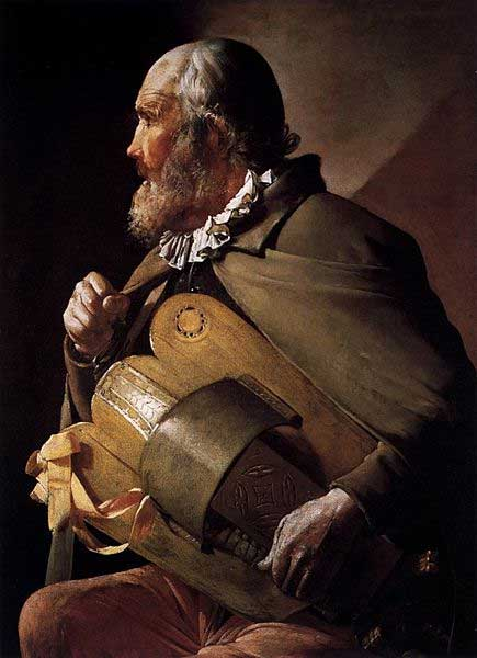 A hurdy gurdy player. Blind Musician by Georges de la tour, 17th century.