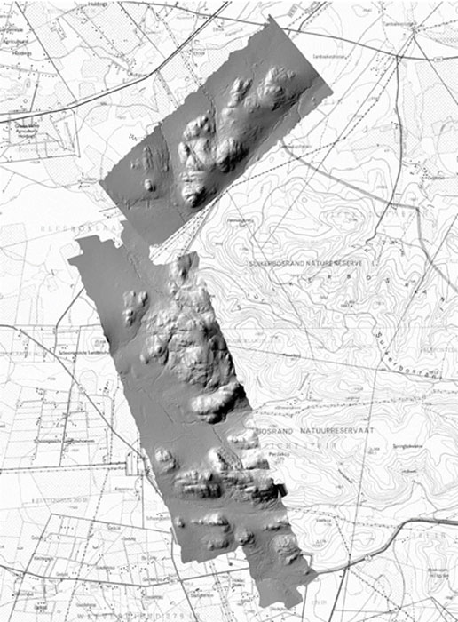 A laser image of Kweneng overlaid on a map of the area. (Source WITS University)
