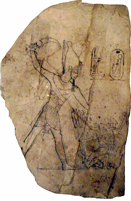 A limestone ostracon depicting Ramesses IV smiting his enemies, from the 20th dynasty, circa 1156-1150 BC. (JMCC1/CC BY SA 2.5)