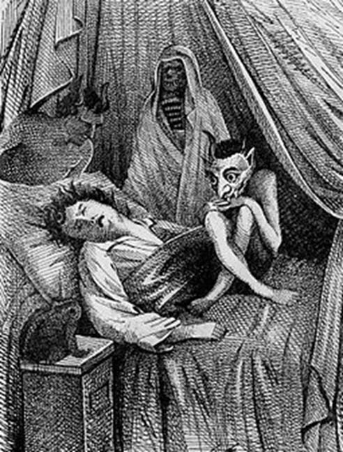 A man is hag-ridden or plagued by the mare in this illustration, 1854. (Public Domain)
