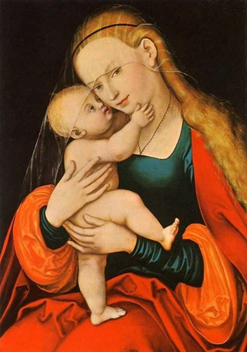 A medieval blond Virgin Mary by Gnadenbild Mariahilf (Passauer Gnadenbild) (1517 – 1525) (Public Domain)