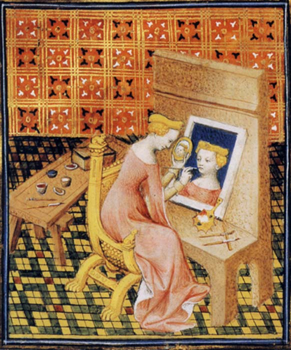 A medieval woman painting a self-portrait. (Public Domain)