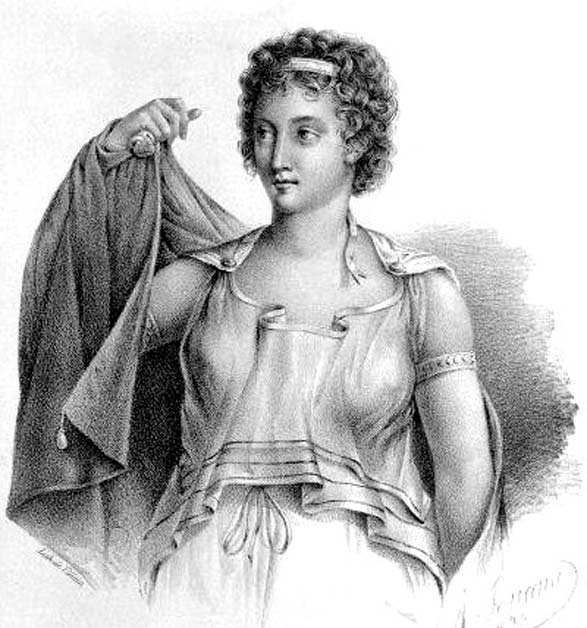 A modern engraving of Agnodice, an ancient Greek midwife and obstetrician, who according to legend disguised herself as a man in order to practice as a doctor. (Public Domain)