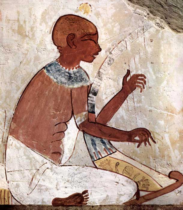 A mural of a blind musician playing a harp, from the tomb of the ancient Egyptian scribe, Nakht (TT52). This representation has raised considerable debate with some believing it shows a blind harpist, while others say the musician has his eyes closed in devotion.