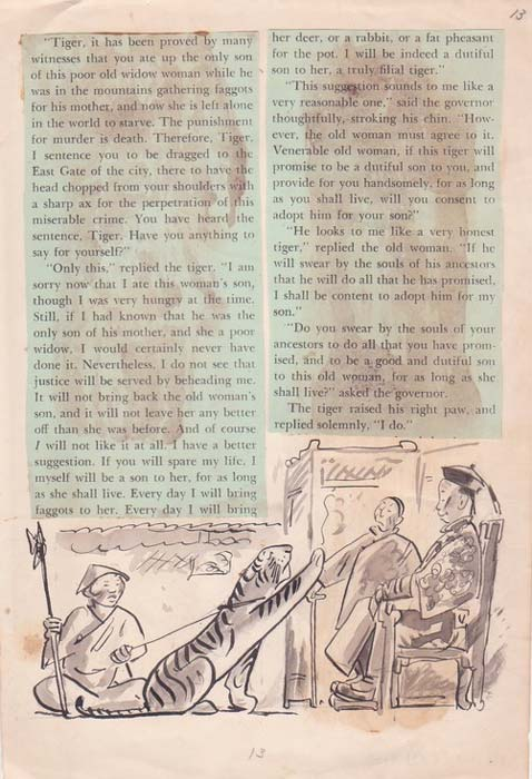 """A page from an English translation of """"The Old Woman and the Tiger."""""""