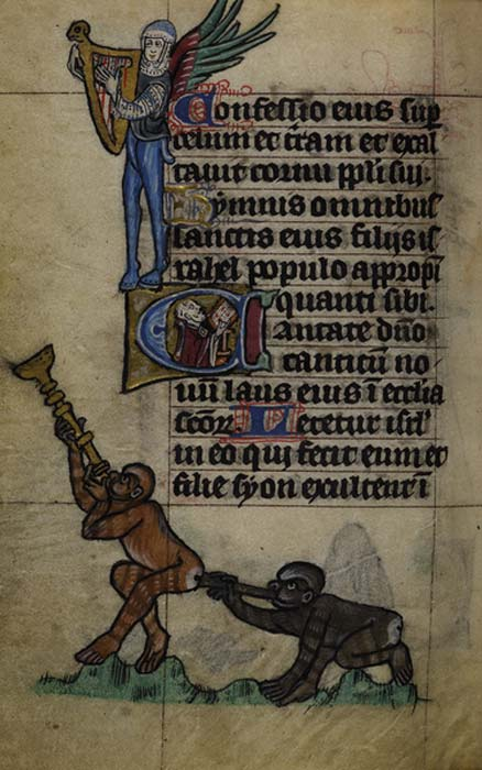 A page of the Maastricht Book of Hours (BL Stowe MS17), an illuminated manuscript mainly known for its lively depictions of animals and half-animals. (Public Domain)