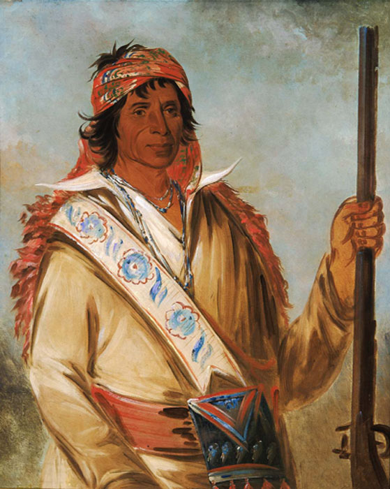 A painting by George Catlin of Great King, also known as Ben Perryman, a chief of the Creek people (Public Domain)