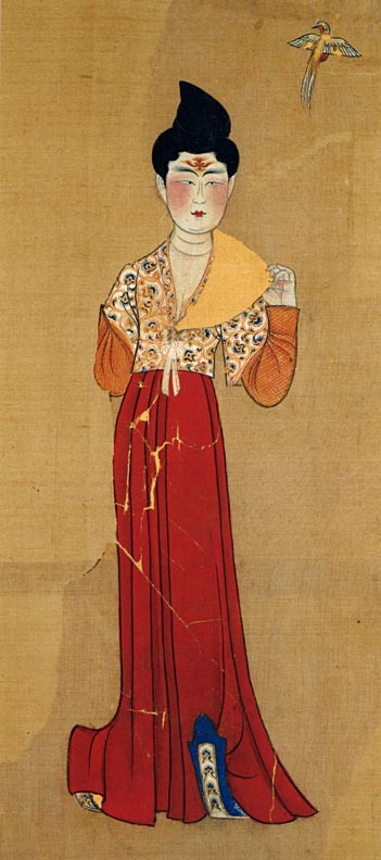 A painting of a dancer from a tomb in Astana, dated to 702 AD.