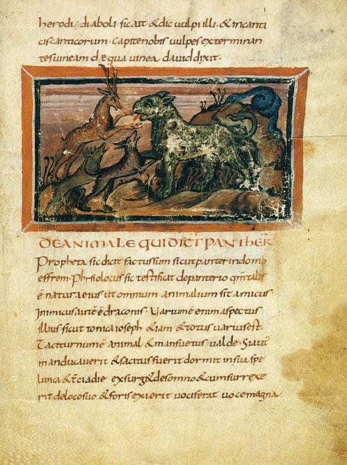 A panther, from the Bern Physiologus, circa ninth century.