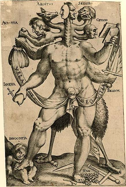 A polemical allegory presented as a five-headed monster, 1618. Monsters often gave artists a platform to express deeply esoteric concepts. (Public Domain)