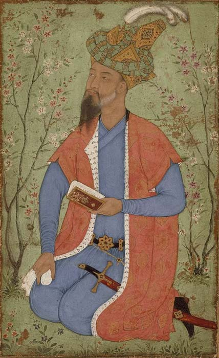 A possible image of Prince Mirza Hindal in a Garden, from Los Angeles County Museum of Arts (public domain). India, Mughal, 1600-1610. (Public Domain)