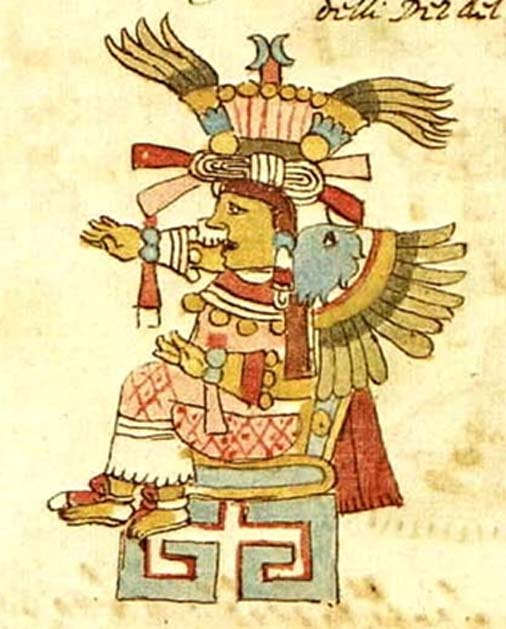 A presumed depiction of Xochiquetzal from the Codex Rios only has plumes. (Public Domain)