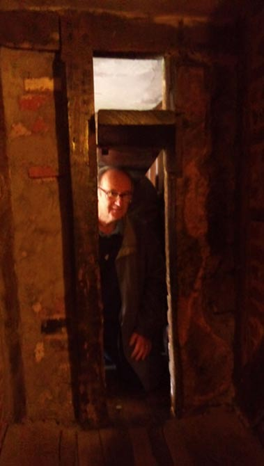 A priest hole made by Nicholas Owen in the library in the Harvington Hall