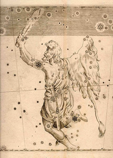 A print of the copperplate engraving for Johann Bayer's Uranometria (1661) showing the constellation Orion. (Public Domain)