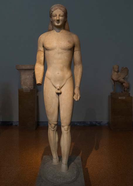 A sculpture from the Archaic period, which was more rigid and with a greater reliance on geometry. Myrrhinous Kouros (BC. 540 – 530). Credit: Egisto Sani / flickr