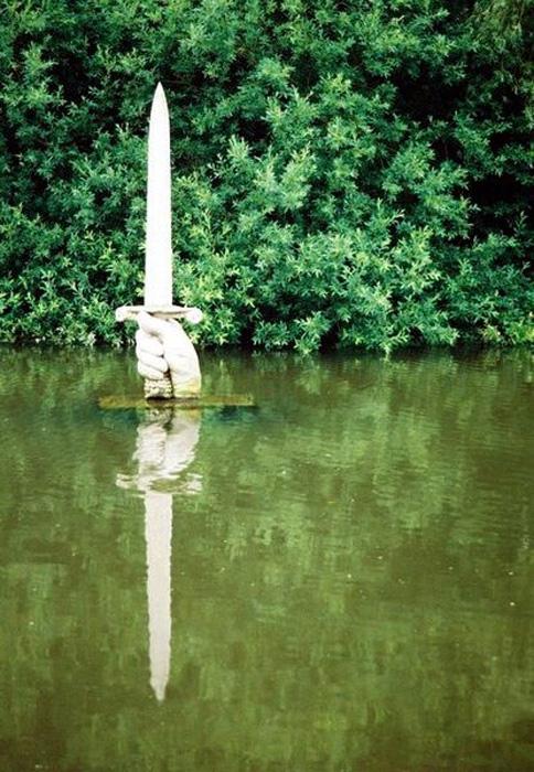 A sculpture of the sword given to King Arthur by the Lady of the Lake, in the lake of Kingston Maurward gardens