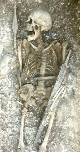 A skeleton with well-preserved weapons was unearthed at the Saxon cemetery on the last day of excavations. (Operation Nightingale)