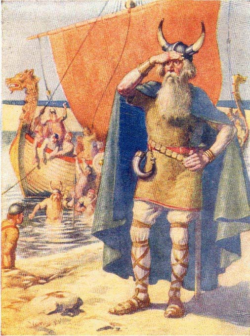A stereotypical painting by Mary McGregor from 1908 of Leif Ericson landing at Vinland