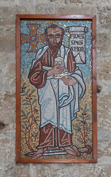 A stunning mosaic of Saint Paul at the Agia Kryiaki Church, Cyprus