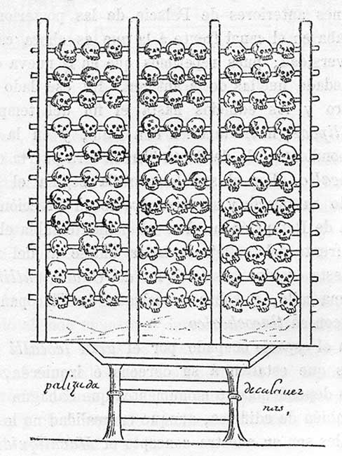 A tzompantli, illustrated in the 16th-century Aztec manuscript, the Durán Codex.