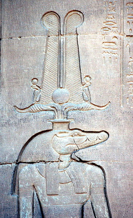 A wall relief from Kom Ombo showing Sobek with solar attributes. (Hedwig Storch / CC BY-SA 3.0)