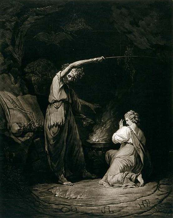 A witch, raising her arm above a cauldron, is making a potion; a young woman is kneeling in front of the cauldron.