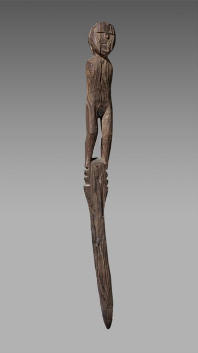 A wooden statue thought to be from 400 BC-100 BC found at the Collon Pass, between Arolla in Switzerland and Bionaz in Italy. (Musée d'histoire du Valais/Michel Martinez)