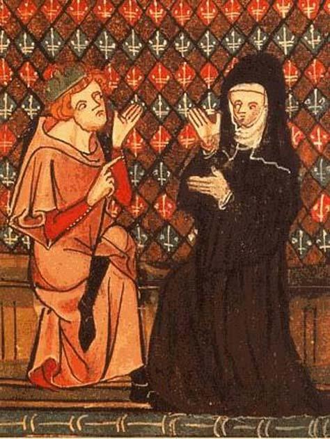 Abaelardus and Héloïse in the manuscript 'Roman de la Rose' (14th century).