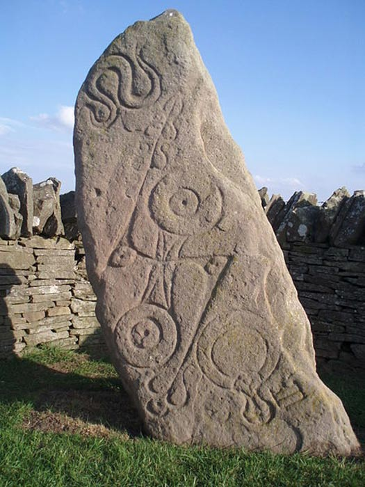 The Aberlemno Serpent Stone, Class I Pictish stone with Pictish symbols, showing (top to bottom) the serpent, the double disc and Z-rod and the mirror and comb.