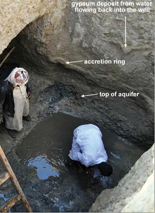 Accretion ring and top of the aquifer on the well's western wall at Berenike. (M. Wozniak / Antiquity)