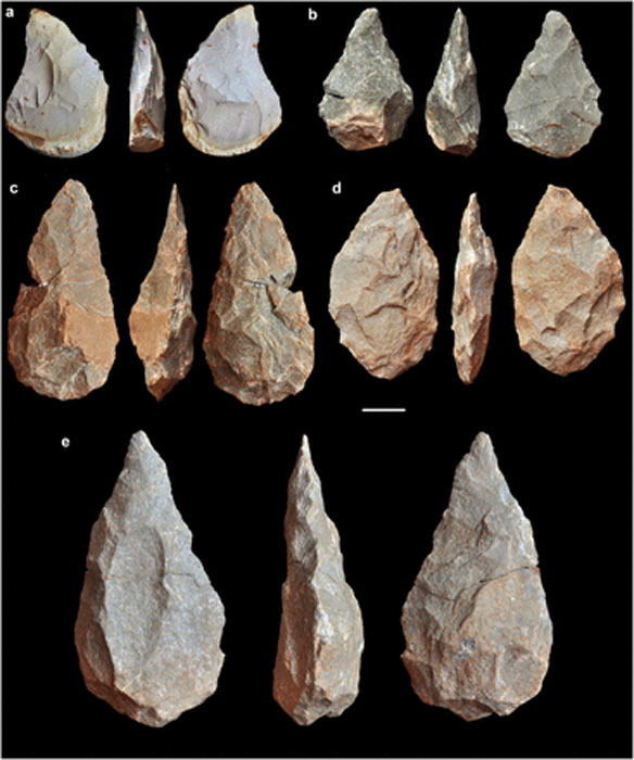 Acheulean handaxes (bifaces) found at the site. (A) Flint. (B–E) Quartzite.
