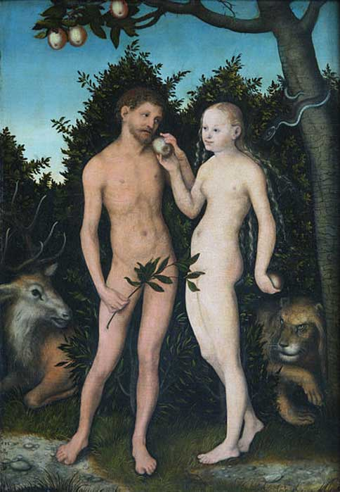 'Adam and Eve in paradise (The Fall)' (1533) by Lucas Cranach the elder.