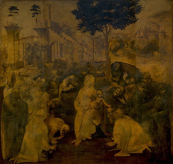 The Adoration of the Magi, by Leonardo da Vinci. Uffizi Gallery.