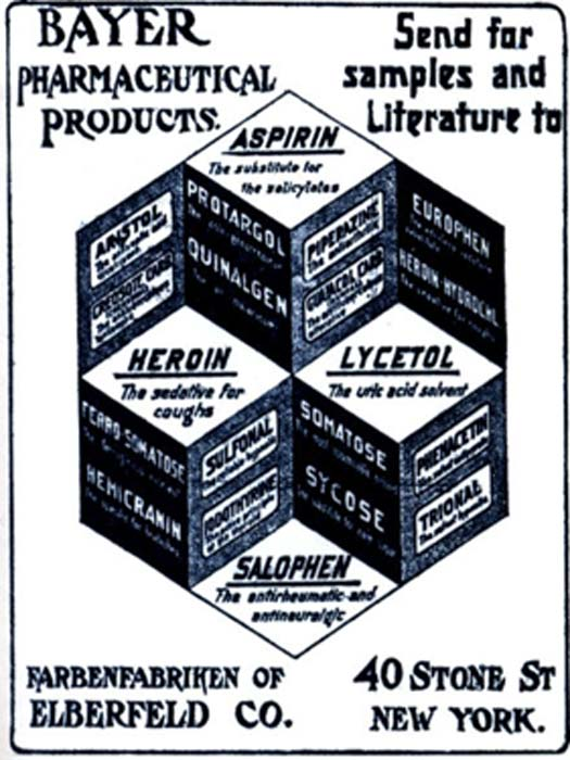 Advertisement for Bayer Heroin before 1904. (BayerHeroin / Public Domain)