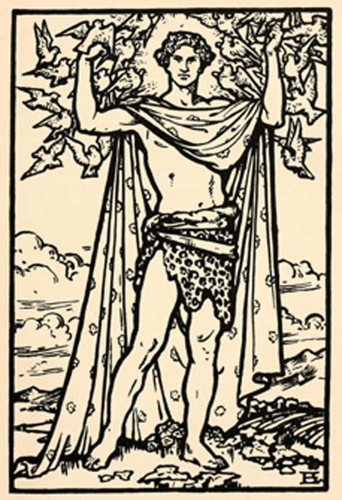 Aengus, son of Dagda, illustration by Beatrice Elvery in Violet Russell's Heroes of the Dawn (1914) (Public Domain)