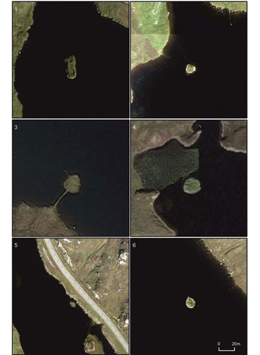Aerial photographic comparison of the six islet sites known to have produced Neolithic material (all shown at the same scale): 1) Arnish; 2) Bhorgastail; 3) Eilean Domhnuill; 4) Lochan Duna (Ranish); 5) Loch an Dunain (Carloway); 6) Langabhat (images © of Getmapping PLC).