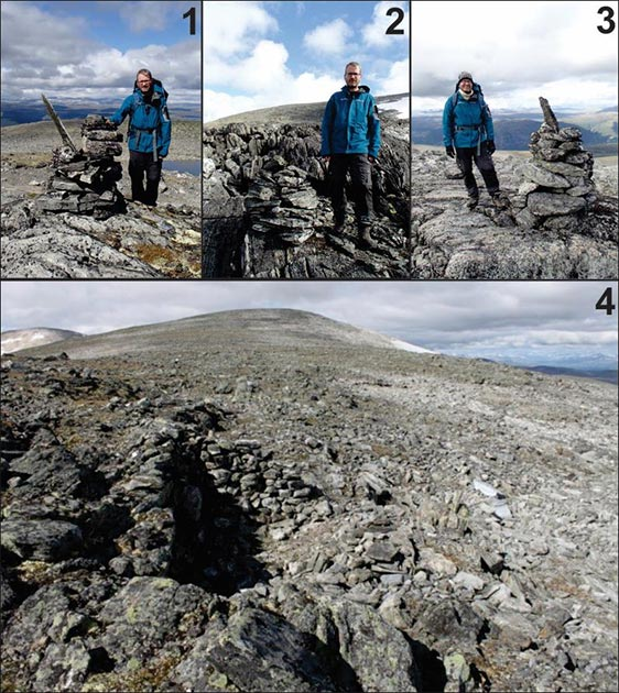 Top: Examples of cairns marking the Lendbreen pass, numbered as in the previous image (photographs: J.H. Barrett). Bottom: Stone shelter near the top of the pass (Images: E. Finstad).