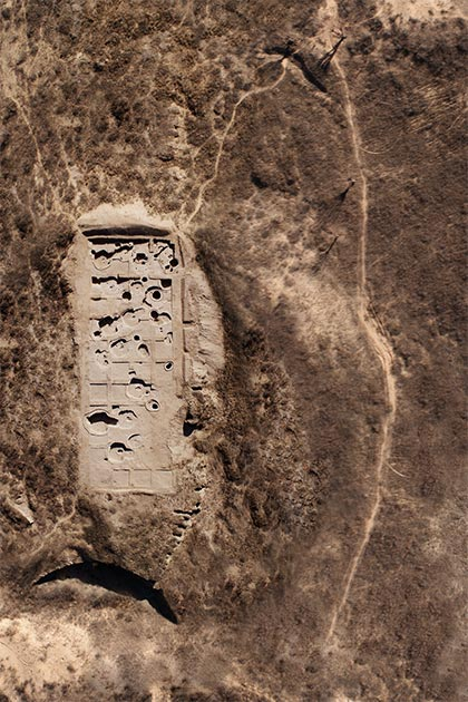 Aerial shot of the excavation site, where the Neolithic Chinese findings were made. (Antiquity Publications Ltd)