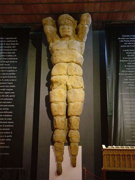 "The Agrigent Telamon on display a Sicily museum. It is quite similar to the soon to be ""rebuilt"" statue of Atlas found in the same area of the Valley of the Temples. (Clemensfranz / CC BY-SA 3.0)"