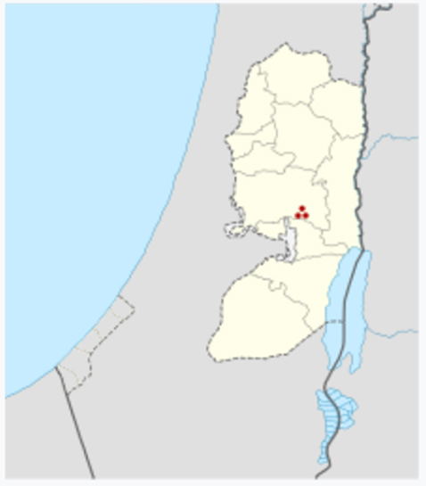 "Ai (or Et-Tell) shown in the West Bank. The site of et-Tell (Arabic for ""the ruin-heap"") is about three km east of the modern village of Beitin (Bethel), atop a watershed plateau overlooking the Jordan Valley and the city of Jericho 14 km east."