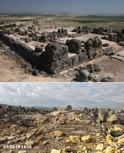 Top: Ain Dara Temple as it was. Bottom: Recent photo of the destroyed site