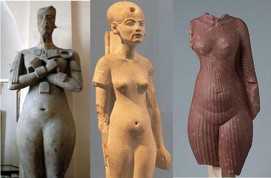 Akhenaton and Nefertiti naked at Amarna