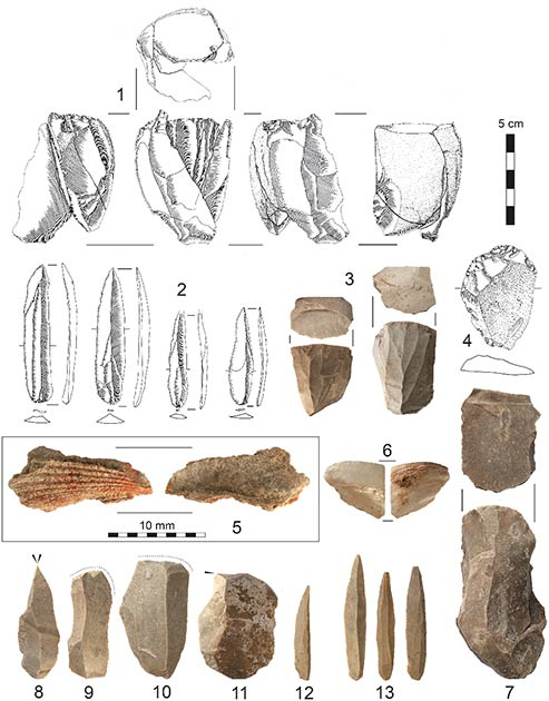 Artifacts from Al-Ansab 1: (1) Refitted blade core, (2) El-Wad points (3) blade cores, (4) end-scraper, (5) marine shell fragment with ochre staining, (6) marine shell fragment, (7) blade core (8) dihedral burin, (9, 10) end-scrapers, (11) burin and (12, 13) El-Wad points. (Richter et al, 2020/PLOS ONE)