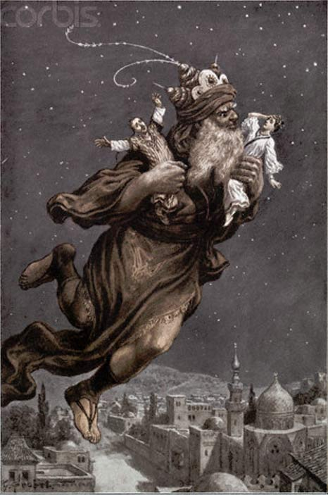Illustration of Aladdin Flying Away with Two People from the Arabian Nights