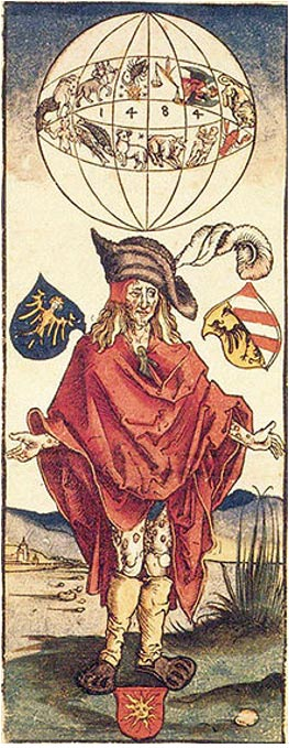 A medical illustration attributed to Albrecht Dürer (1496) depicting a person with syphilis. Here, the disease is believed to have astrological causes.