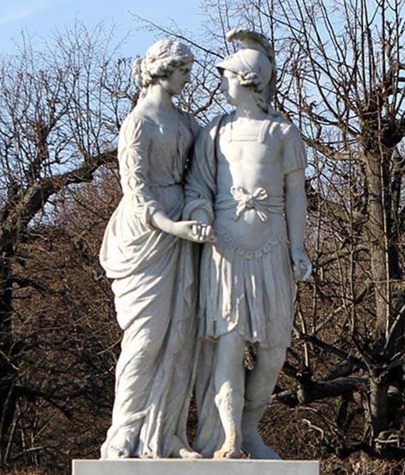 A statue of Alexander and Olympias, Schönbrunn, Vienna.