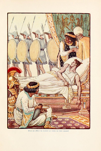 Alexander on his deathbed. From The Story of Greece : Told to Boys and Girls (191-?) by Mary Macgregor