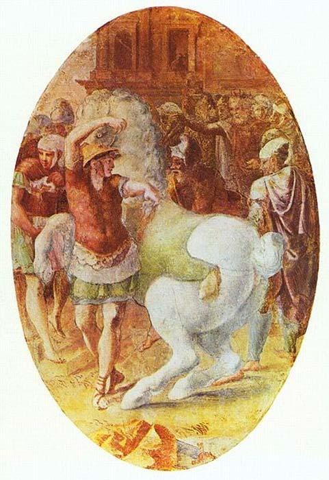 'Alexander tames Bucephalus' (mid-16th century) by Francesco Primaticcio.