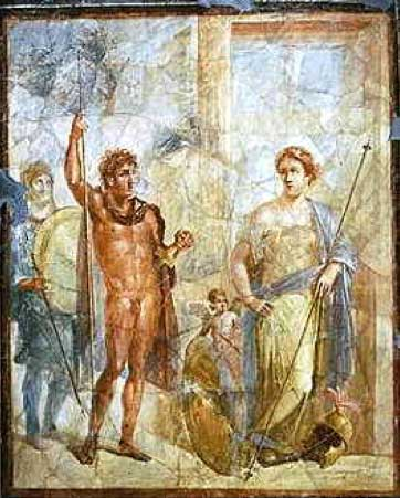A mural in Pompeii depicting Alexander the Great and Barsine (Stateira).
