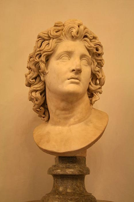 Alexander the Great as Helios. Marble, Roman copy after a Hellenistic original from 3rd–2nd century BC. (Jean-Pol GRANDMONT/CC BY SA 3.0)